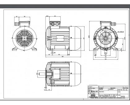 Электродвигатель 5,5 кВт, 380 В, 1450 об/мин. (полый вал, фланец 87 мм), Ravel 1833А