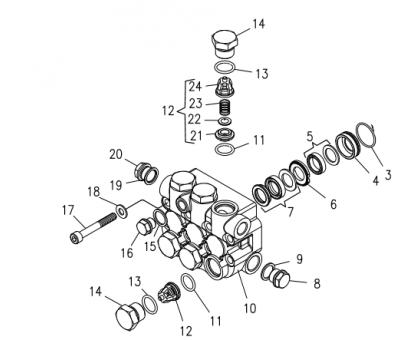 Комплект клапанного блока для серии HD d.18, Hawk 1.099-890.0/261239