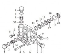 Головная часть насоса в сборе (латунь) для серии RR, Annovi Reverberi 42714